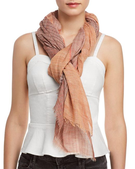 Eileen Fisher - Orange Ombré Color Block Scarf - Lyst