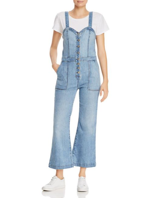 5db65db081 7 For All Mankind - Blue Bustier-style Denim Jumpsuit In Whitney - Lyst ...