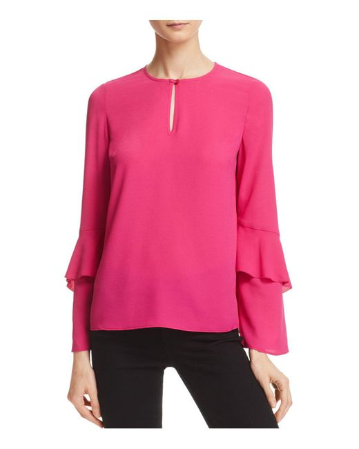 Cooper & Ella | Pink Agatha Tiered Sleeve Blouse | Lyst