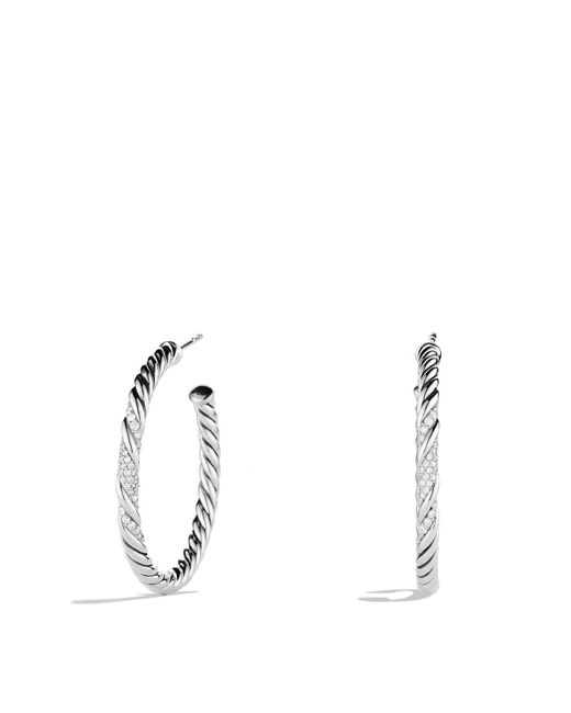 David Yurman | Metallic Willow Medium Hoop Earrings With Diamonds | Lyst