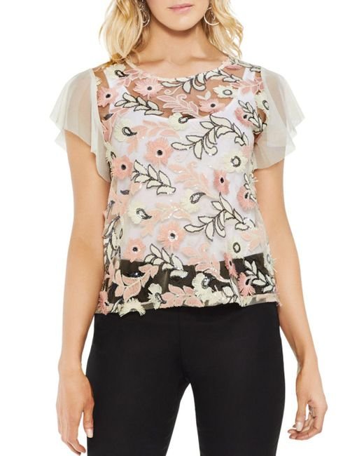 Vince Camuto - Multicolor Sheer Sequined Floral Top - Lyst