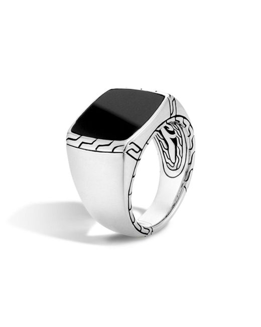 John Hardy - Batu Classic Chain Sterling Silver Signet Ring With Black Jade for Men - Lyst