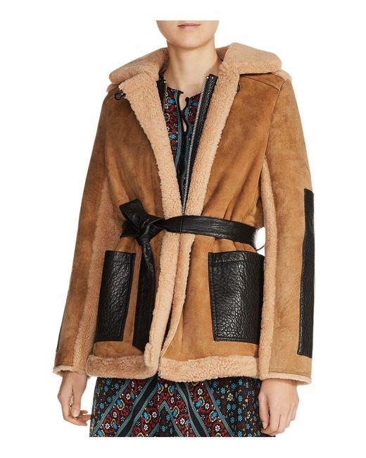 Maje | Brown Gulen Real Lamb Shearling Coat | Lyst