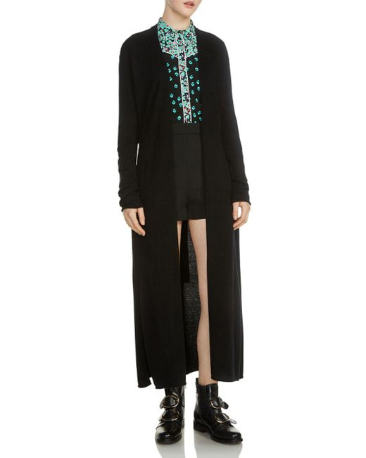 Maje - Black Marina Long Open Cardigan - Lyst