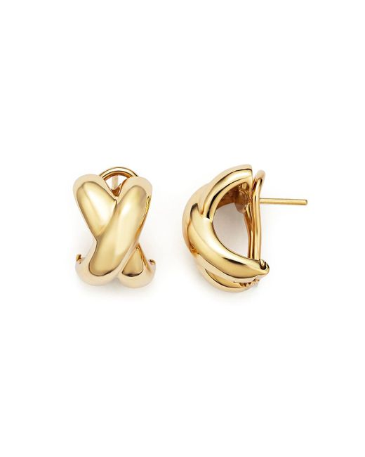 Roberto Coin | Metallic 18k Yellow Gold Small Crossover X Earrings | Lyst