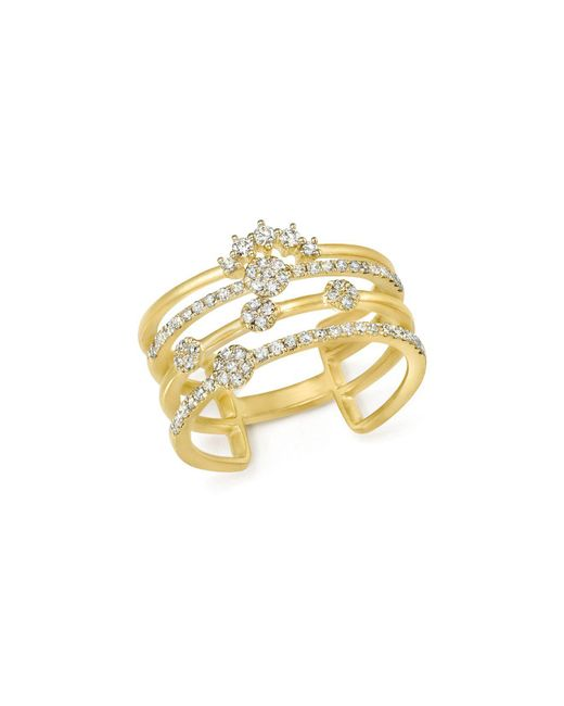 Meira T - Metallic 14k Yellow Gold Four Band Diamond Ring - Lyst