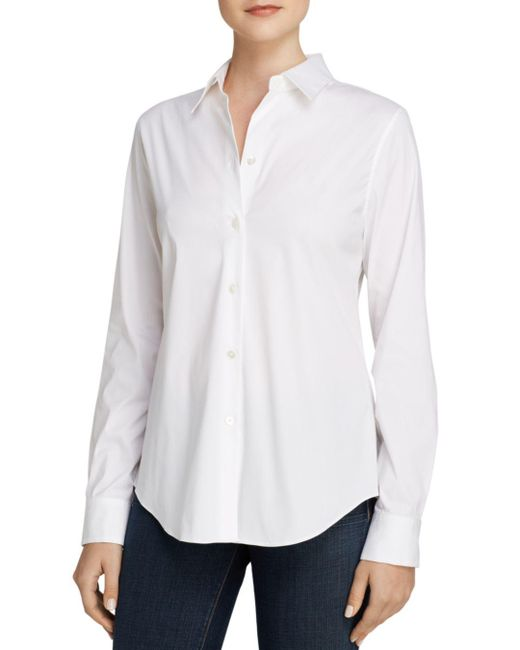 Theory - White Top - Tenia Luxe Stretch Cotton - Lyst
