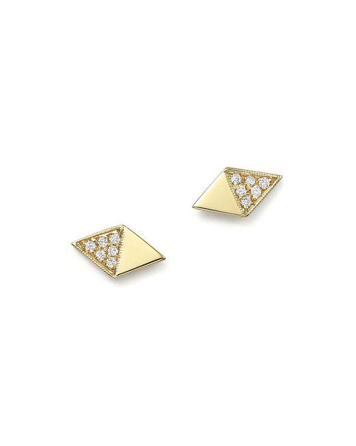 Zoe Chicco - White Zoe Chicco 14k Yellow Gold Half Pavé Diamond Shape Stud Earrings - Lyst