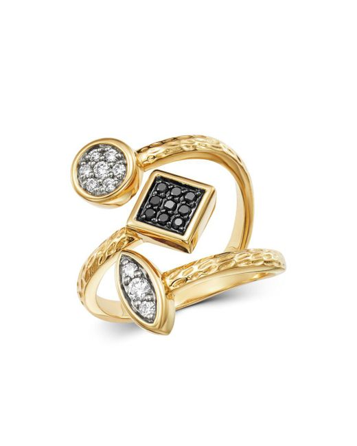 Bloomingdale's - Metallic Diamond & Black Diamond Geometric Ring In 14k Yellow Gold - Lyst