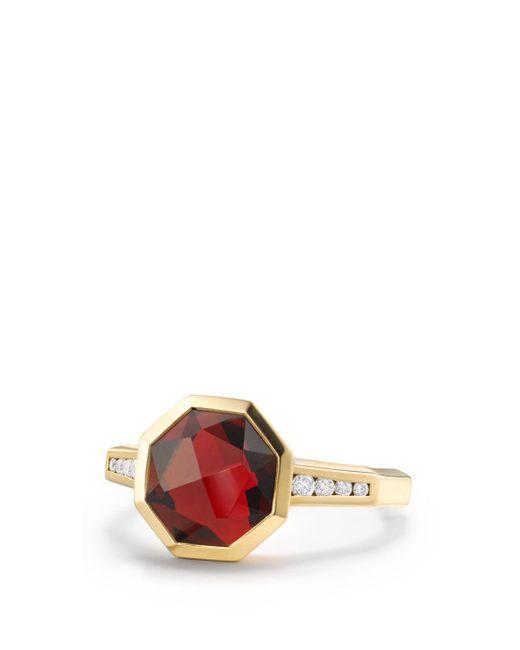 David Yurman - Metallic Guilin Octagon Ring With Garnet And Diamonds In 18k Yellow Gold - Lyst