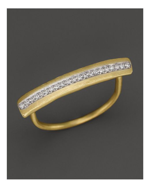 Meira T - Metallic 14k Yellow Gold Long Bar Ring With Diamonds - Lyst