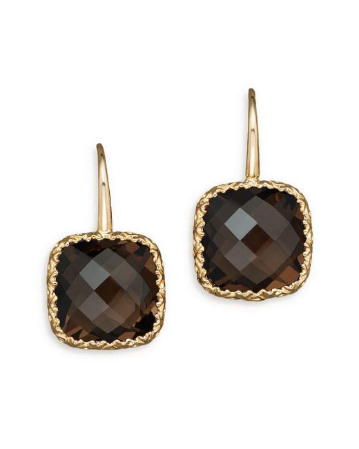 Bloomingdale's - Metallic 14k White Gold And Smoky Quartz Earrings - Lyst