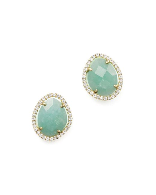 Meira T - Green 14k Yellow Gold Amazonite Stud Earrings With Diamonds - Lyst