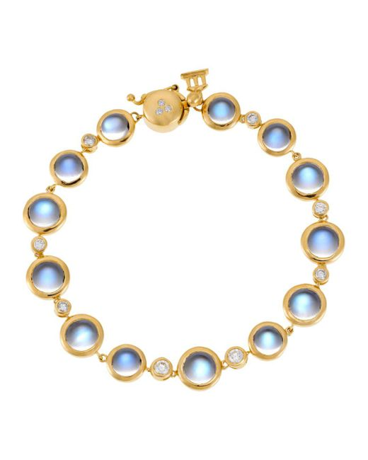 Temple St. Clair - 18k Yellow Gold Single Round Bracelet With Royal Blue Moonstone And Diamond - Lyst