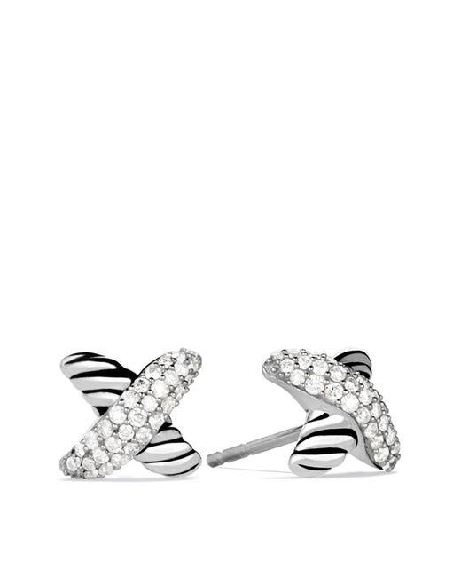 David Yurman - Metallic X Earrings With Diamonds - Lyst