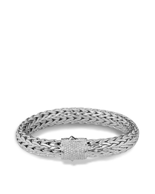 John Hardy | Metallic Classic Chain Sterling Silver Large Bracelet With Diamond Pave | Lyst
