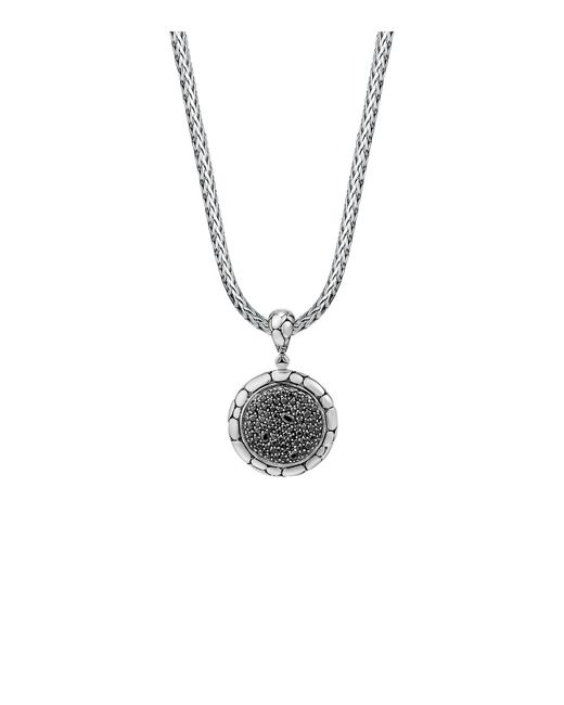 John Hardy | Metallic Sterling Silver Kali Lavafire Medium Round Enhancer With Black Sapphires | Lyst