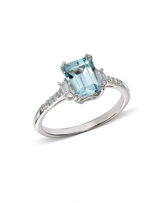 Bloomingdale's - Multicolor Emerald-cut Aquamarine & Diamond Baguette Ring In 14k White Gold - Lyst