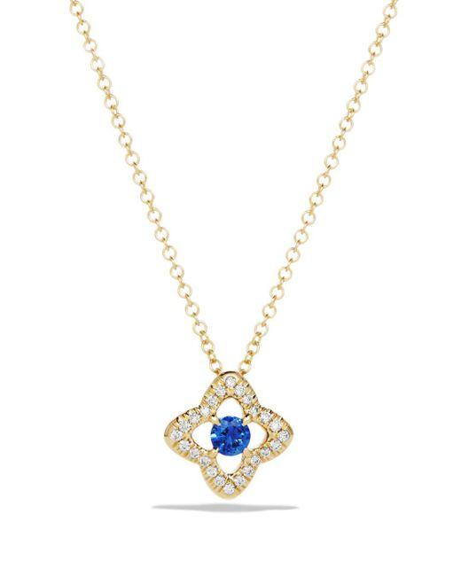 David Yurman - Metallic Venetian Quatrefoil Necklace With Blue Sapphire And Diamonds In 18k Gold - Lyst