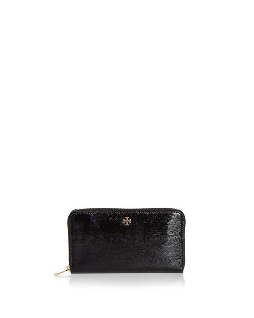 Tory Burch | Black Robinson Zip Patent Leather Continental Wallet | Lyst
