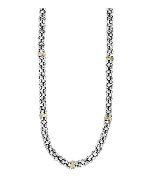 Lagos | Metallic Caviar Mini Rope Necklace With 18 Kt. Stations, 16"