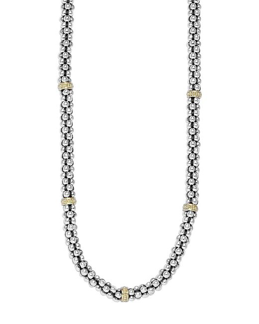 Lagos   Metallic Sterling Silver 4mm Caviar Chain Necklace   Lyst