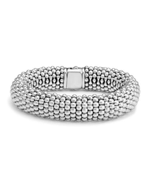 Lagos   Metallic Sterling Silver Caviar Oval Link Bracelet   Lyst
