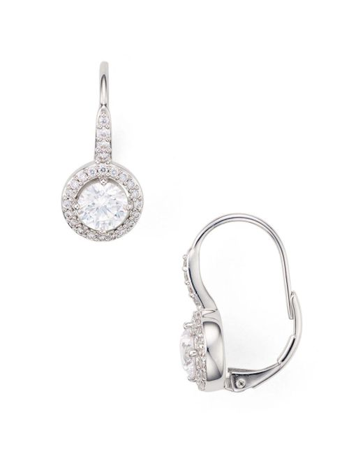 Nadri - Metallic Framed Leverback Earrings - Lyst