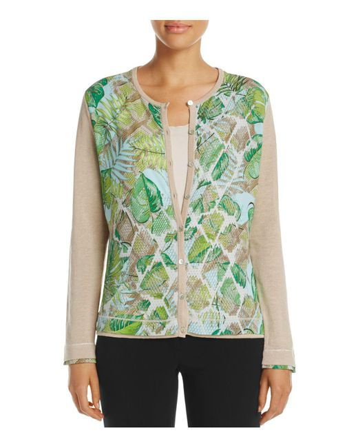 Basler | Multicolor Leaf Print Cardigan | Lyst