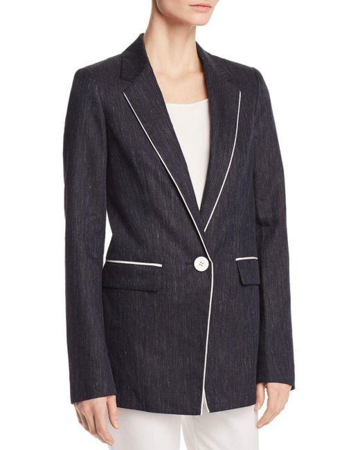 Lafayette 148 New York - Blue Rhoda Piped Herringbone Blazer - Lyst