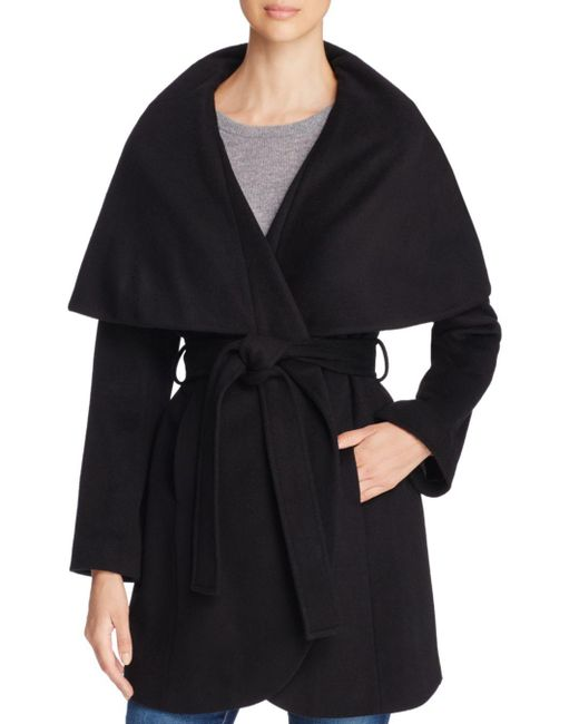 T Tahari - Black Marla Belted Wrap Coat - Lyst