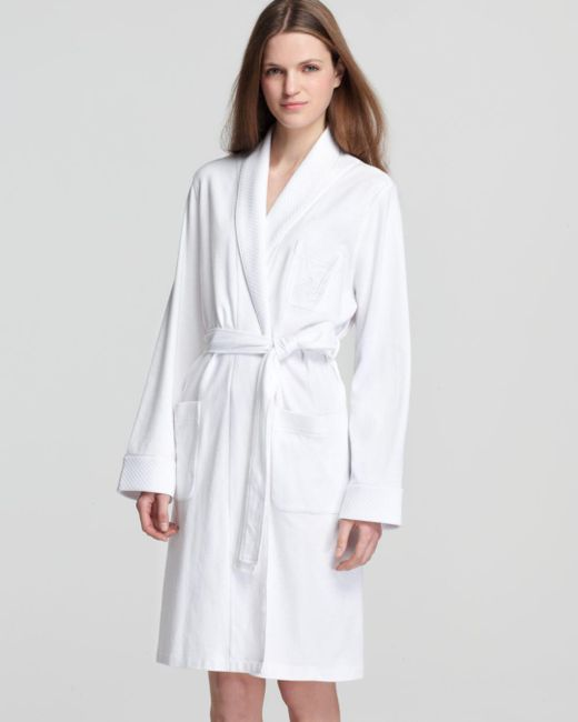 Ralph Lauren White Lauren Quilted Collar & Cuffs Short Robe