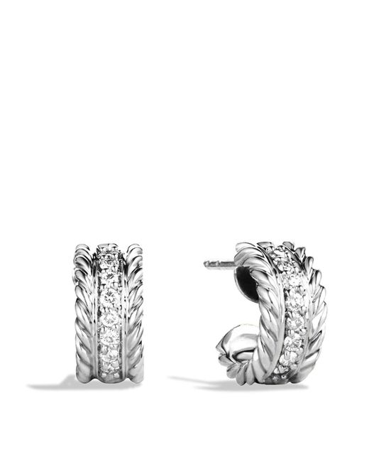 David Yurman | Metallic Cable Classics Extra Small Earrings With Diamonds | Lyst
