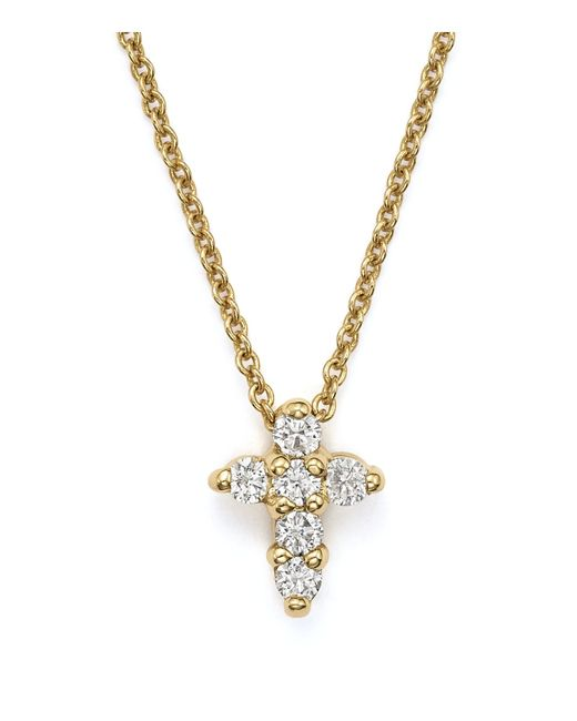 Roberto Coin | Multicolor 18k Yellow Gold Cross Necklace | Lyst