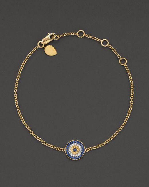 "Meira T - Metallic 14 Kt. Yellow Gold/diamond ""evil Eye"" Bracelet - Lyst"