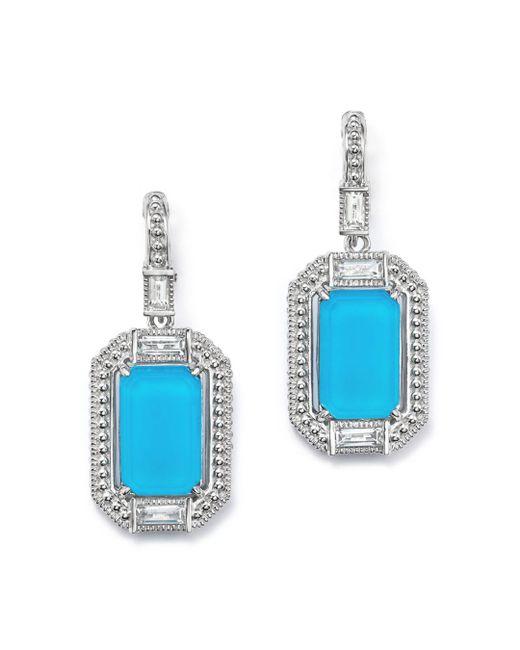 Judith Ripka - Blue Sterling Silver Doublet Baguette Drop Earrings With Rock Crystal - Lyst