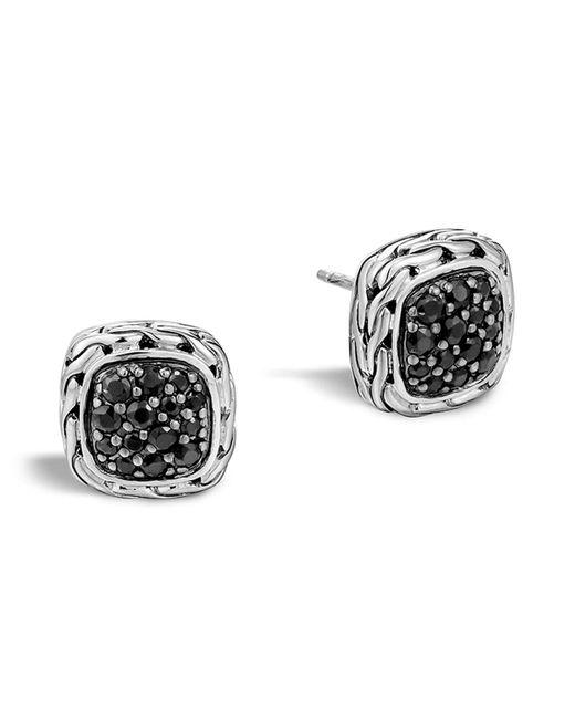 "John Hardy | Metallic ""kali Lava"" Small Square Stud Earrings With Black Sapphire | Lyst"