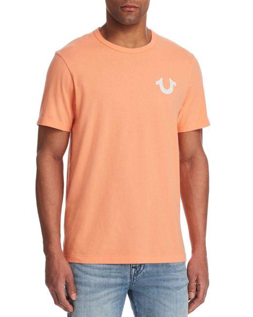 True Religion - Orange Buddha Logo Tee for Men - Lyst