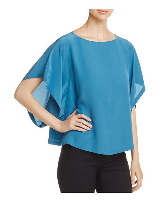 Eileen Fisher | Blue Silk Box Top | Lyst