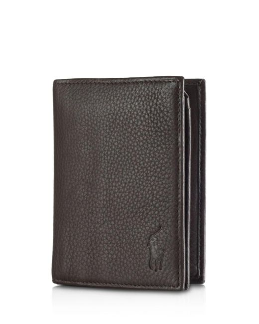 5c6698ed5785 Polo Ralph Lauren - Brown Pebbled Leather Window Billfold Wallet for Men -  Lyst ...