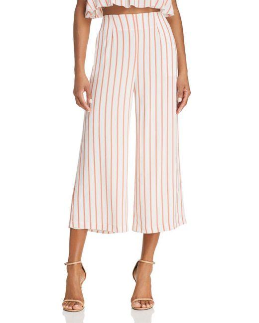 Sage the Label - Pink Aurelia Striped Cropped Wide-leg Pants - Lyst