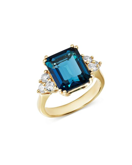 Bloomingdale's - Emerald-cut London Blue Topaz & Diamond Statement Ring In 14k White Gold - Lyst