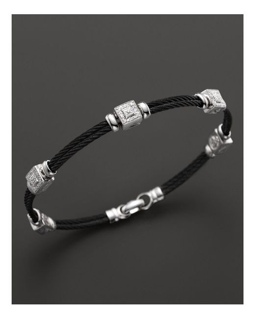 Charriol | Celtic Noir 18k White Gold And Black Pvd Stainless Steel Nautical Cable Bracelet With Diamonds | Lyst