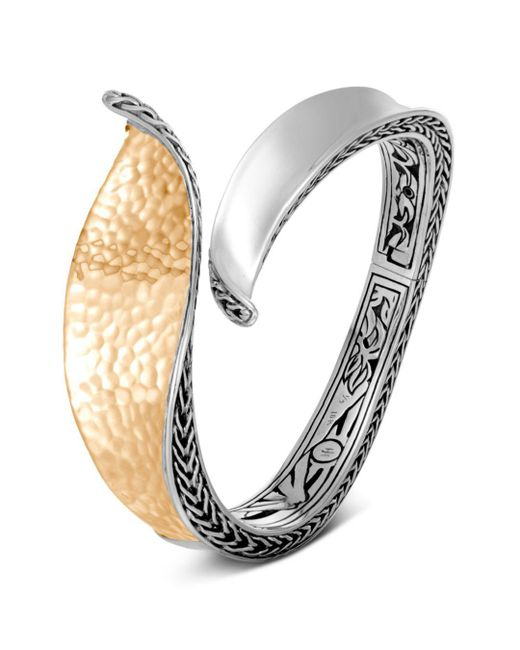 John Hardy - Metallic Sterling Silver & 18k Bonded Gold Classic Chain Hammered Hinged Bangle - Lyst