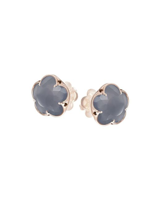 Pasquale Bruni | Gray 18k Rose Gold Grey Agate Floral Stud Earrings | Lyst