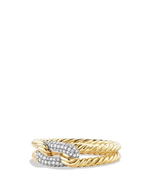 David Yurman - Multicolor Petite Pavé Loop Ring With Diamonds In 18k Gold - Lyst