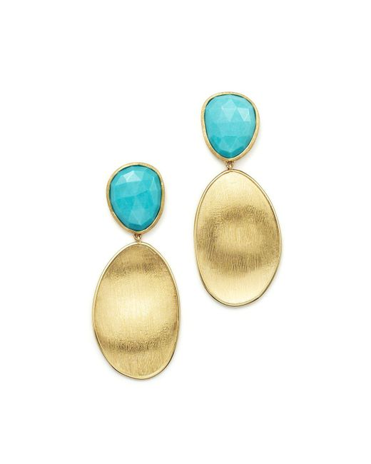 Marco Bicego | Blue 18k Yellow Gold Turquoise Two Drop Earrings | Lyst