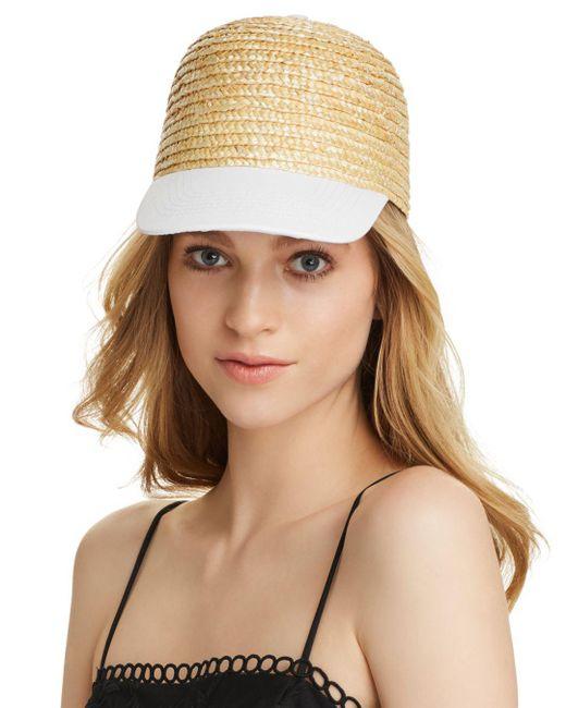 Aqua - Brown Cotton Brim Straw Cap - Lyst