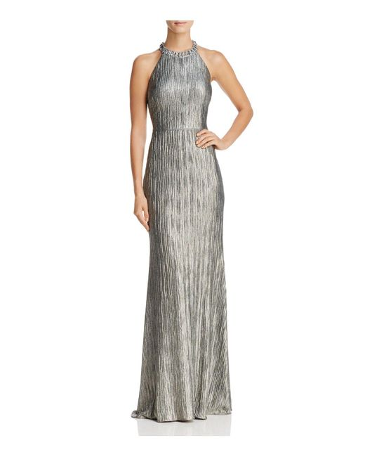 Adrianna Papell | Metallic Crinkle Foil Gown | Lyst