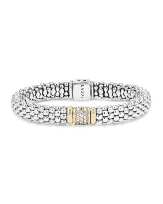 Lagos - White 18k Yellow Gold And Sterling Silver Caviar Rope Bracelet With Diamonds - Lyst